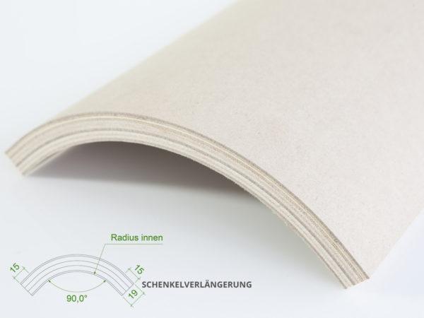 Winkelprofil (ohne Grundierfolie) mit einem Innenradius von 148 mm.