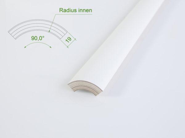 Holzviertelschale (mit Grundierfolie) mit einem Innenradius von 30 mm.