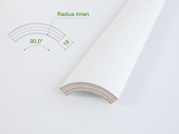 Holzviertelschale (mit Grundierfolie) mit einem Innenradius von 60 mm.