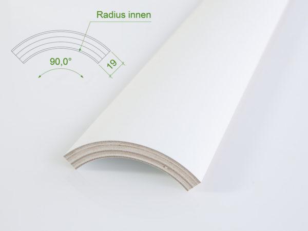 Holzviertelschale (mit Grundierfolie) mit einem Innenradius von 87 mm.