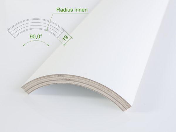 Holzviertelschale (mit Grundierfolie) mit einem Innenradius von 131 mm.