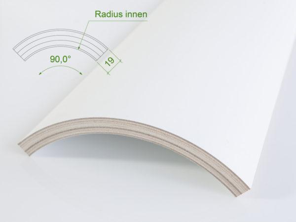 Holzviertelschale (mit Grundierfolie) mit einem Innenradius von 165 mm.